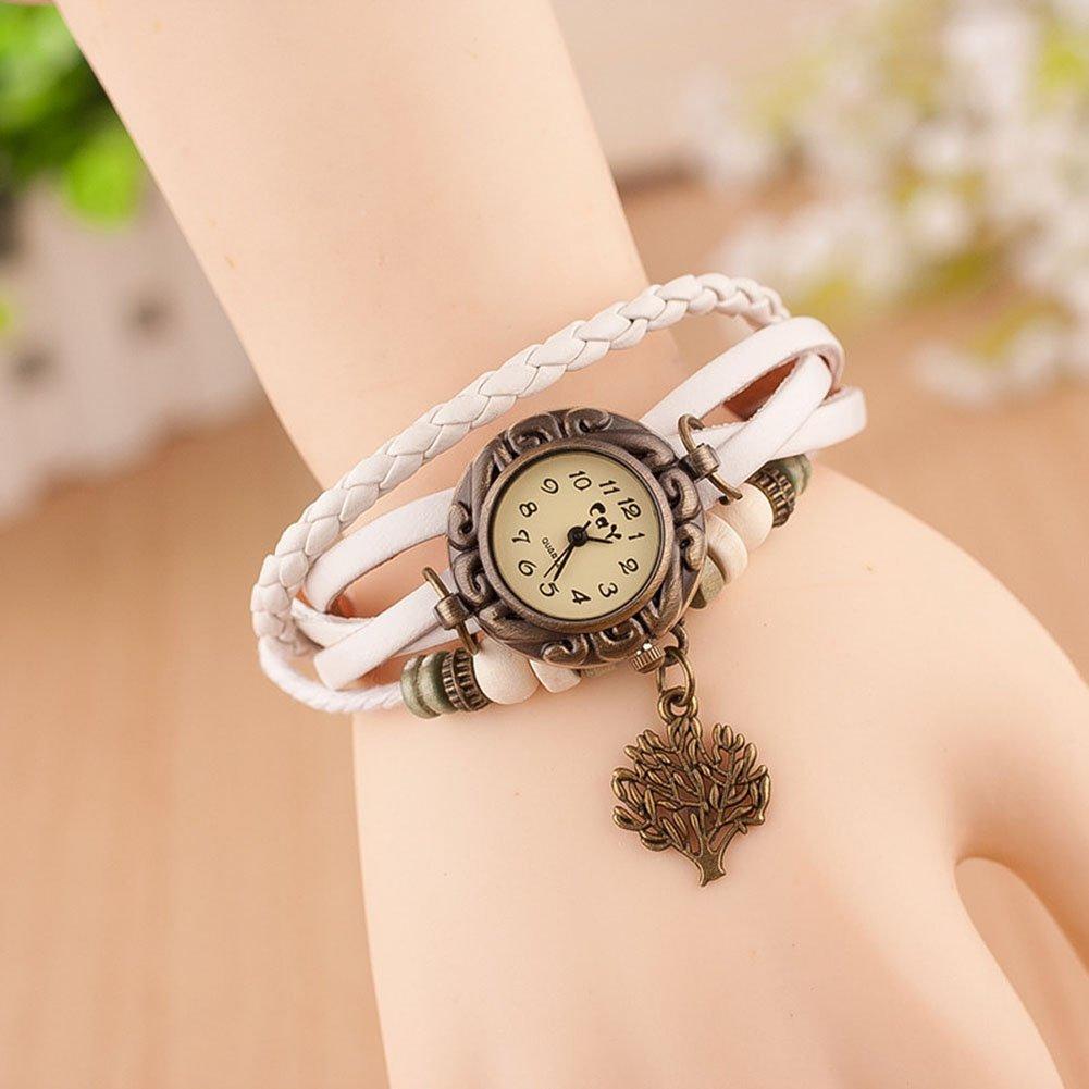 Hosaire Watch Bracelet Vintage Multilayer Weave Wrap Around Leather Chain Bracelet Quartz Wrist Watch with Tree Pendant for Women Men White by Hosaire (Image #2)