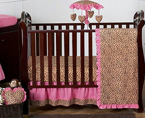 Cheetah Animal Print Pink and Brown Baby Girl Bedding 11pc Crib Set Without Bumper ()