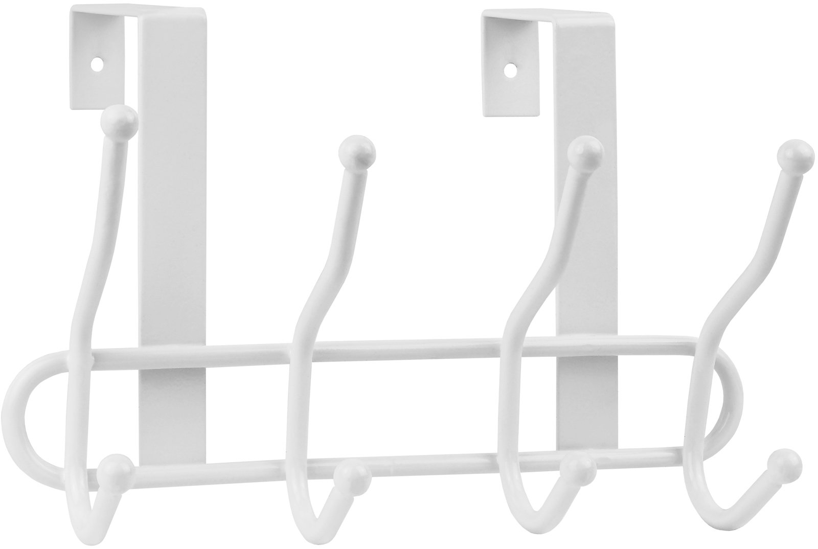 Greenco Steel Quad Over the Door Hook, 4 Hooks - white