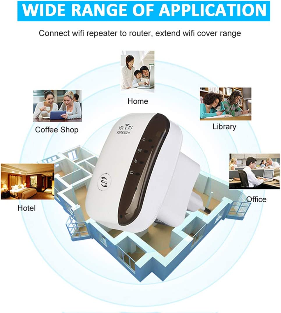 Easy Setup WiFi Signal Extender Internet WiFi Booster 2.4G for Home 300Mbps Superboost Wi-Fi Blast Range WLAN Signal Amplifier Repetidor Supports RP//AP Mode
