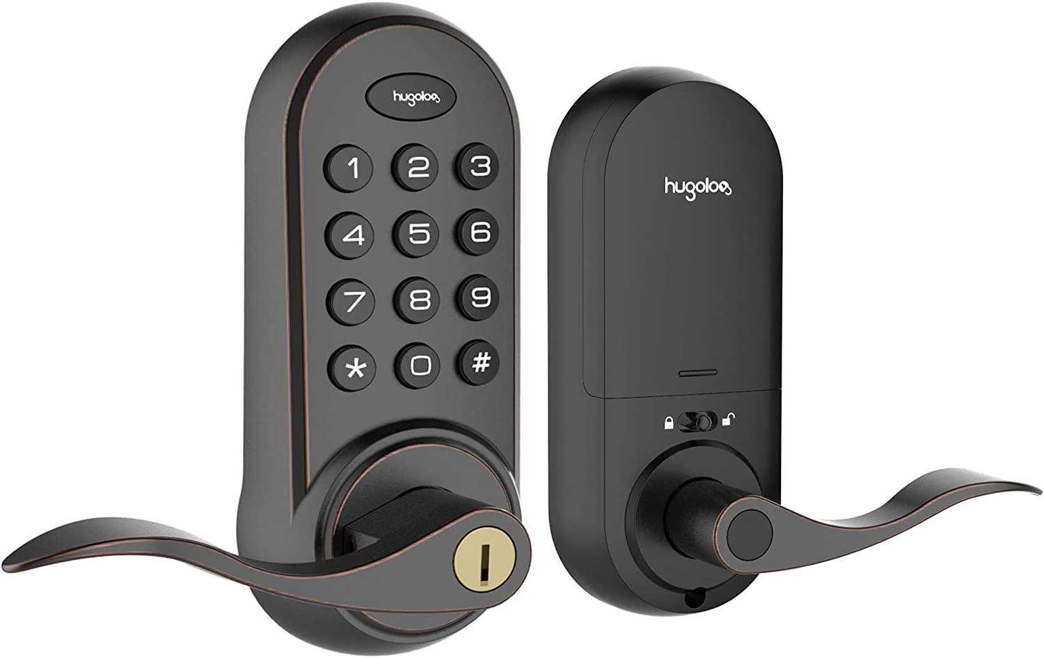 Hugolog Deadbolt Lock Electronic,Keyless Entry Door Lock, Keypad Door Lock with Handle, Easy to Install High Security Material for Metal Home & Office