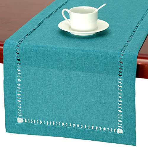 GRELUCGO Handmade Hemstitch Teal Table Runner Dresser Scarf, Rectangular 14 By 36 Inch