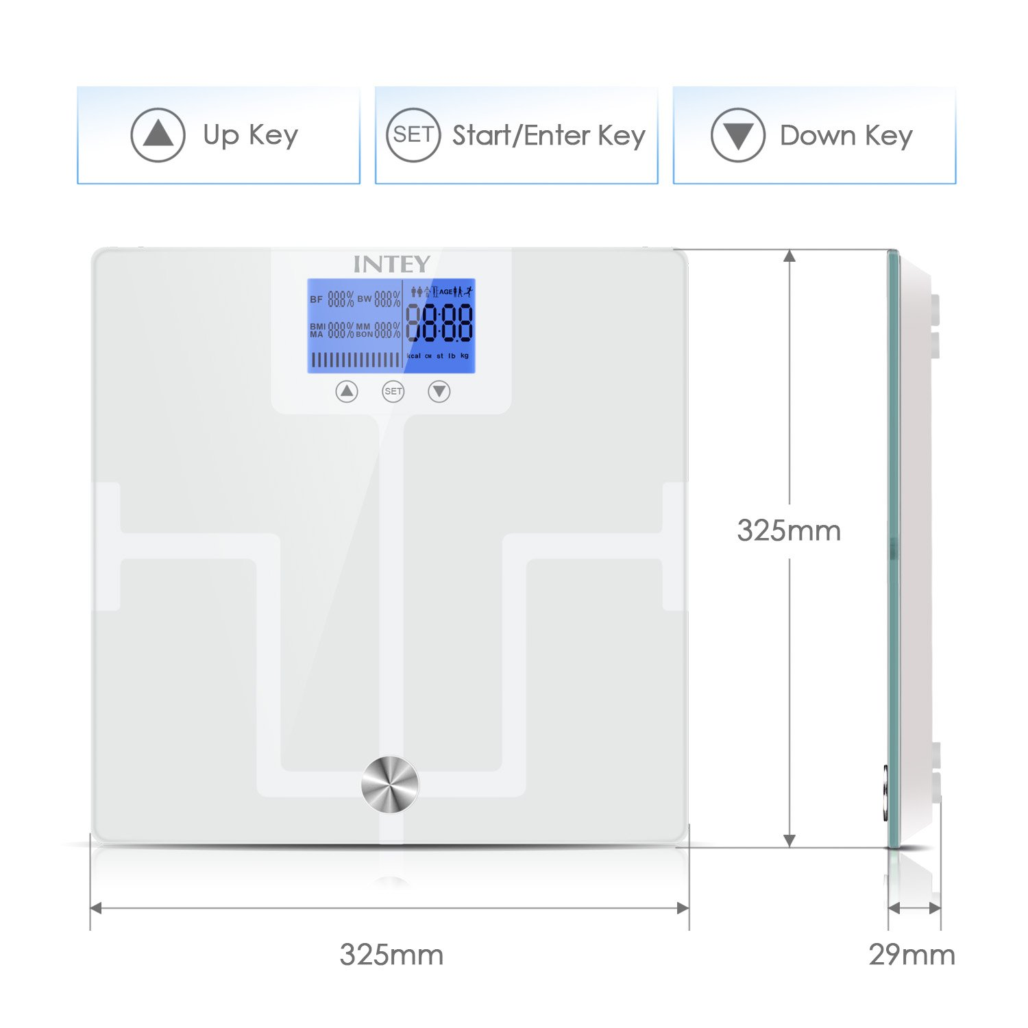 Intey Body Fat Scale Composition Monitor Of Measurement Electrical Quantities With A Cro Weight Bmi Water Muscle Bmr Bone Mass Analyzer Large Backlit Lcd Display