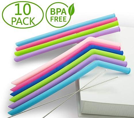 6er Set igadgitz Home Wiederverwendbar Zweiteiliges Design Trinkhalme BPA Frei Silikon Strohhalme ideal f/ür Cocktail Smoothie etc.mit Reinigungsb/ürsten