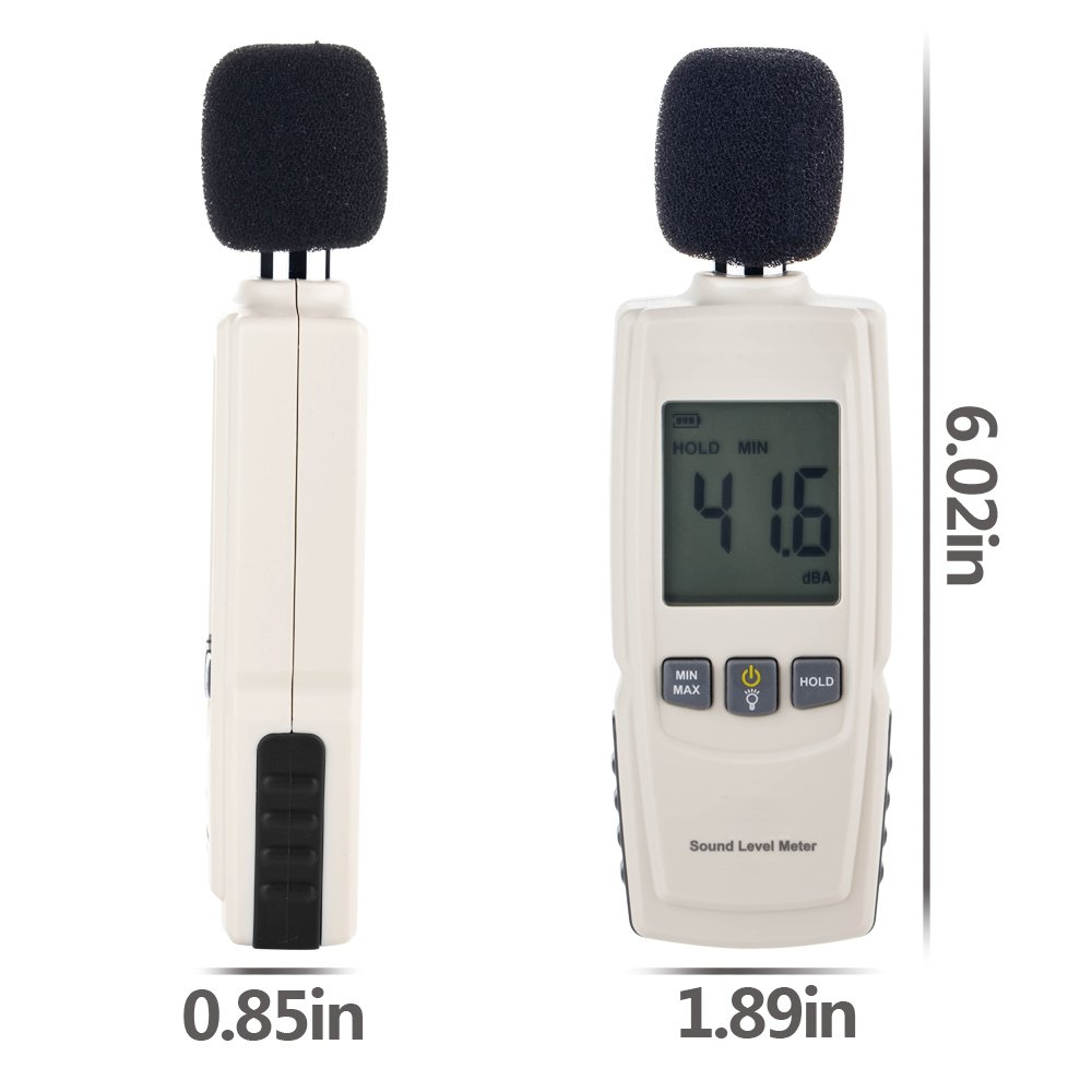 Sound Decibel Meter, GoerTek Digital Mini Sound Pressure Level Meter, Audio Noise Measurement 30-130dBA ,MAX /MIN Hold,Auto Backlight Display-3AAA Battery Includedd (GM1352) by GoerTek (Image #7)