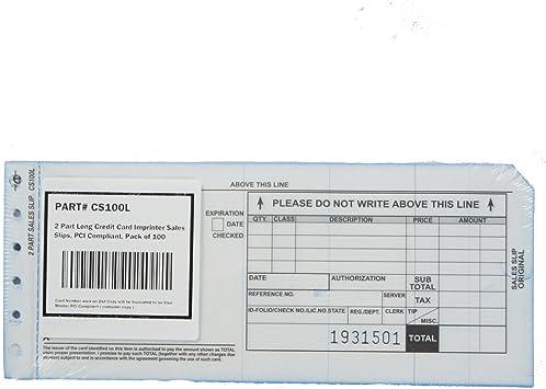 2 Part Short Credit Card Imprinter Sales Slips Pack of 100
