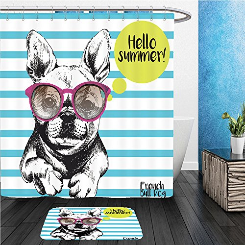 Beshowereb Bath Suit: ShowerCurtian & Doormat close up portrait of french bulldog wearing the sunglasses bright hello summer french bulldog - Dora Sunglass