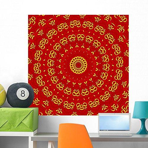 Wallmonkeys FOT-27862509-36 WM213717 Aum Shanti Mandala-Red Gold Peel and Stick Wall Decals H x 36 in W, 36