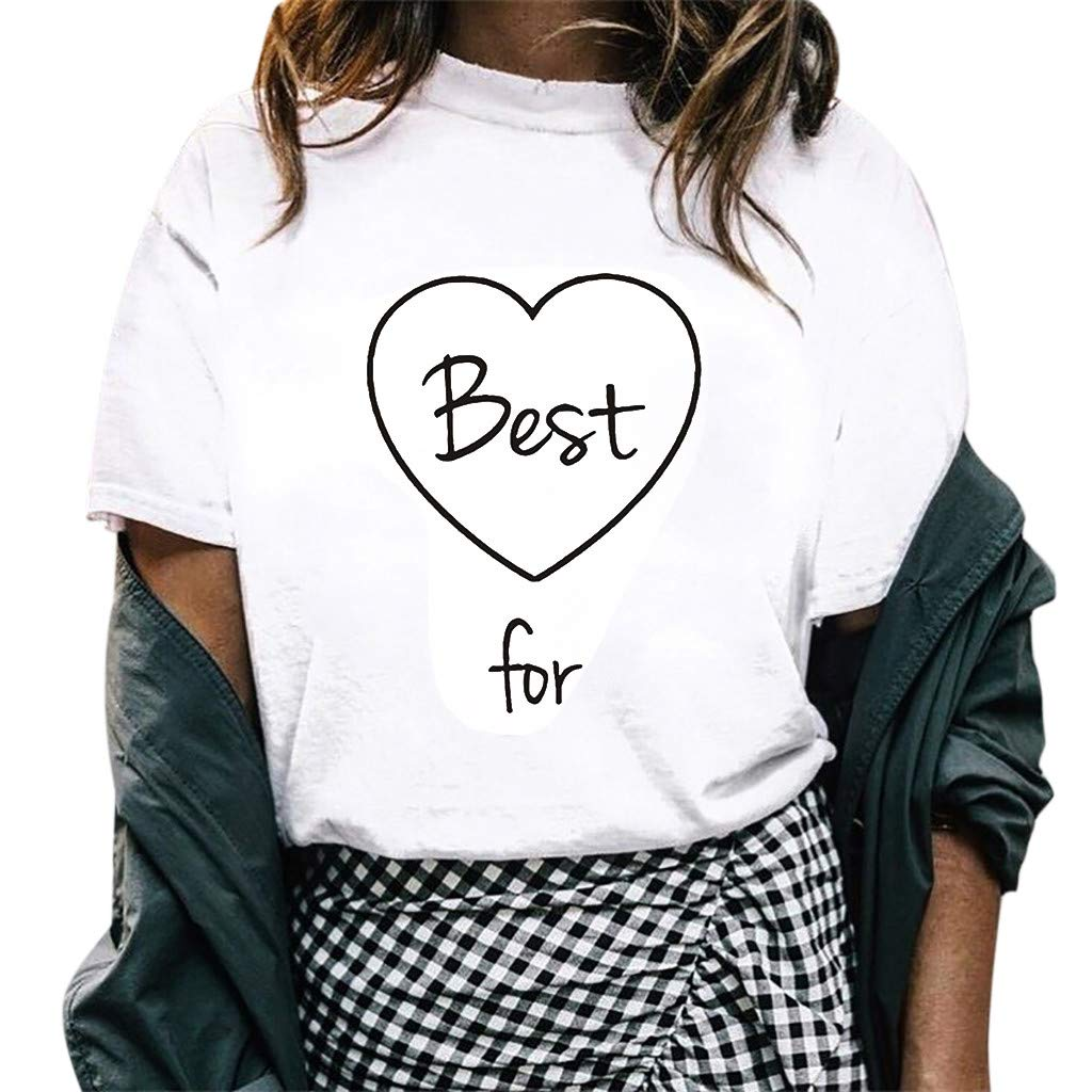 Women T-Shirt Short Sleeve Round Neck Letter Summer Print Tee Loose Tunic Tops Blouse (XXXXL, White)