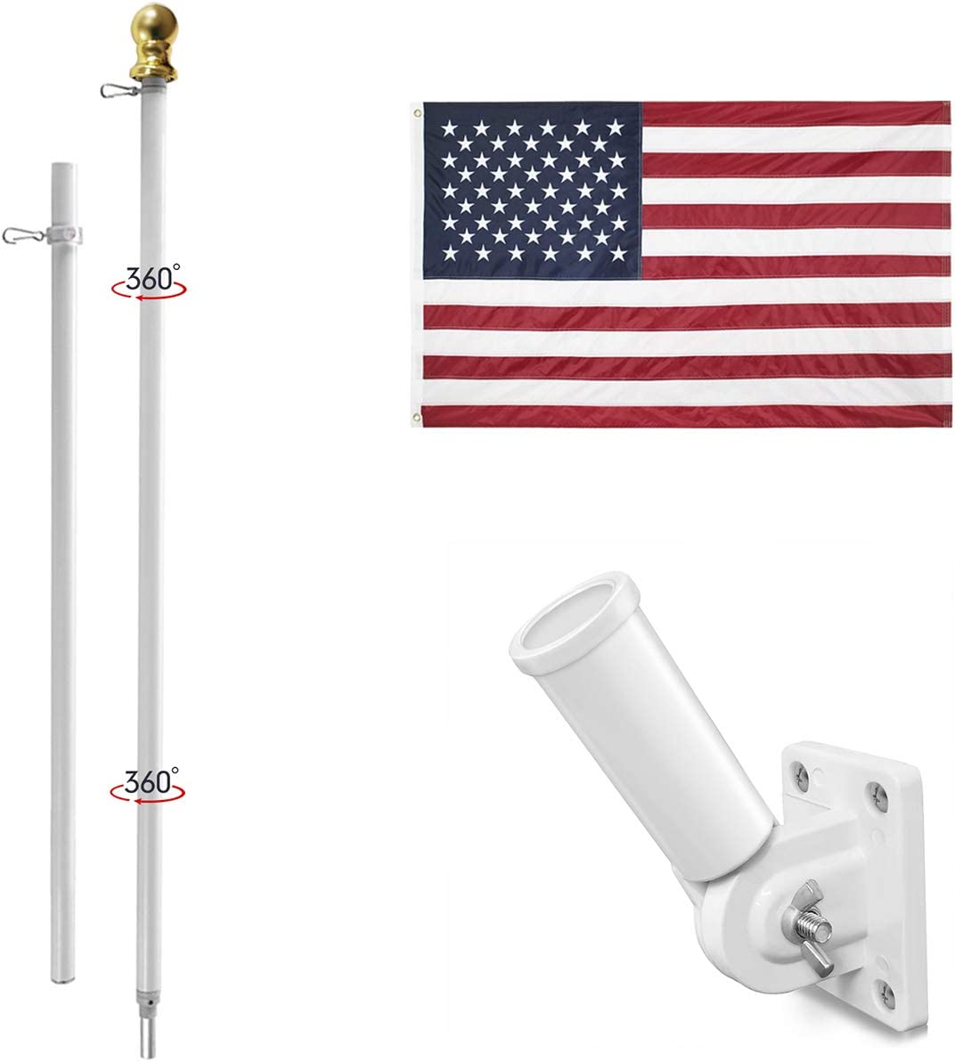 Jetlifee 3x5 Ft American Flag Pole Kit – Including US Flag with Embroidered Stars Sewn Stripes, 6 Ft No Tangle Flagpole Aluminum, Adjustable Pole Bracket Heavy Duty White Colored Wind Resistant