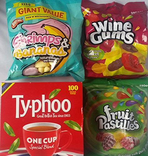 Wine Gums Fruit Pastilles Shrimps and Bananas Retro British Sweets English Tea Bags Bundle, 4 items