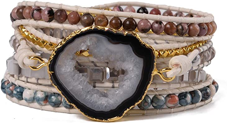 Unique gift idea. Boho bracelet in brown leather and golden crystal for women