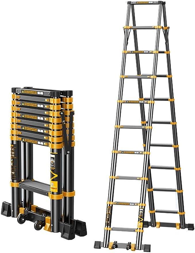 Escalera telescópica de extensión Amarco, multiusos, plegable, portátil, con bisagras y barra de apoyo, carga de 150 kg lxhff: Amazon.es: Bricolaje y herramientas