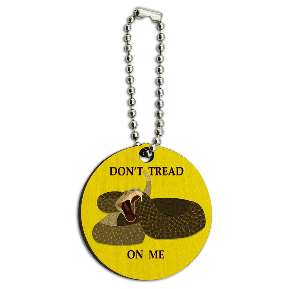 Don't Tread On Me Rattlesnake Tea Party Wood Wooden Round Key Chain