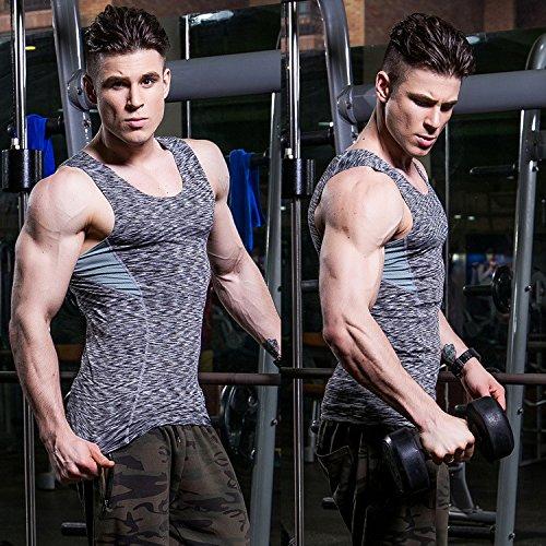 MJARTORIA メンズ コンプレッションウェア タンクトップ 無袖 スポーツシャツ ストレッチ アンダーウェア 快適 吸汗速乾 機能性 トレーニング 運動用 加圧インナー (XXL, グレー)