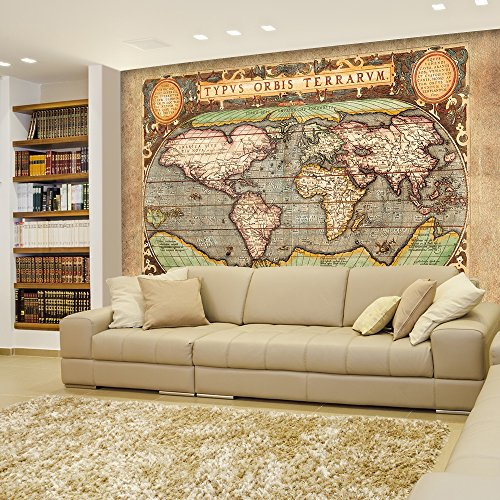 Ancient Antique Illustrated Map Latin Lettering Full Color Wall Mural