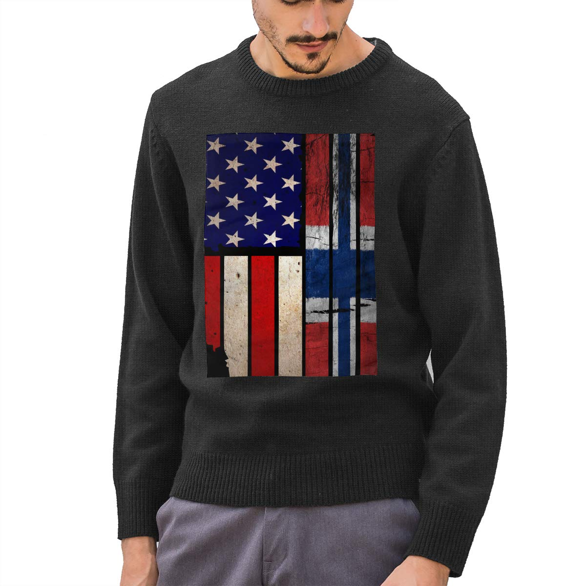 Mens Vintage USA Norway Flag Crewneck Long Sleeve Basic Pullover Sweater Winter Tops