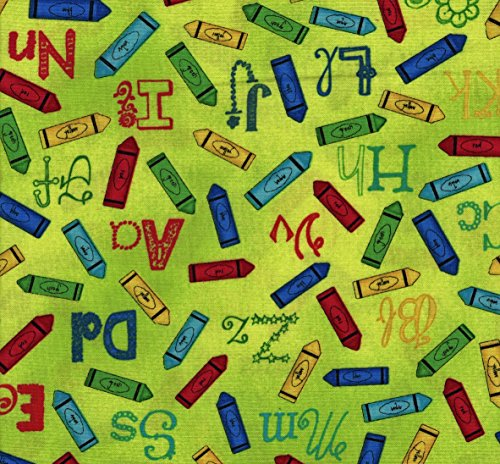 - Crayons and Alphabet on Lime Green Cotton Fabric Fat Quarter