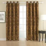 Cheap IYUEGO Cotton Chenille/Rayon Energy Saving Grommet Top Curtain With Multi Size Custom 100″ W x 108″ L (One Panel)