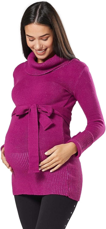 358p Donna pr/émaman Tunica Maglione Pullover Top Collo Alto Cintura Magenta, One Size IT 40//42//44, Happy Mama