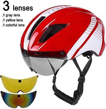 LIUDATOU Lente Gafas magnéticas Casco para Bicicleta Road Mountain MTB Casco de Ciclismo en el Molde Velocidad de conducción Casco de Bicicleta de contrarreloj, Rojo Blanco 3 Lentes: Amazon.es: Deportes y aire