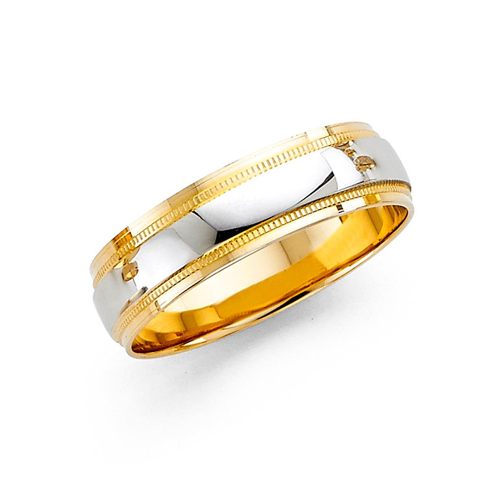 Wedding Band Solid 14k Yellow White Gold Milgrain Ring Diamond Cut Polished Style Two Tone 6 mm Size 8 by ZenJewels