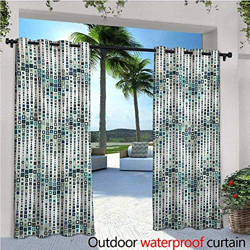 (Geometric Indoor/Outdoor Single Panel Print Window Curtain Wave Shape Geometric Figures Color Tile Mosaic Artistic Composition with Squares Silver Grommet Top Drape W84 x L108 White)