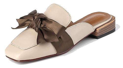 SimpleC Zapatillas Moda Mules Arco Dedos Cuadrados Slip-on Open-Back Tacon bajo para Mujer: Amazon.es: Zapatos y complementos