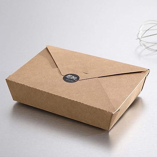 Fiambrera desechable YC American High-End Desechable Papel Kraft Caja de Embalaje de plástico Comida Nutrición Balance [Paquete de 200] (Color : Black): Amazon.es: Hogar