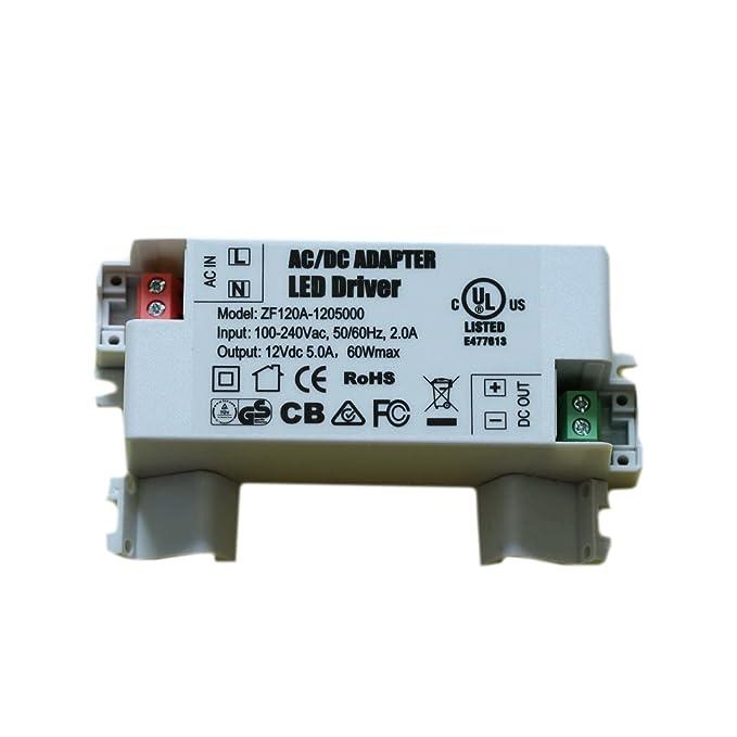 ADOGO LED Transformer LED Power Supply- 60W, 12V DC, 5A - Constant ...
