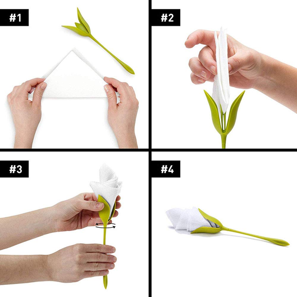 Not Paper Included ahanzhu 8Pcs Creative Bloom Napkin Holders Flowers Floral Green Design for Table Decoration Home Party Napkin Rings