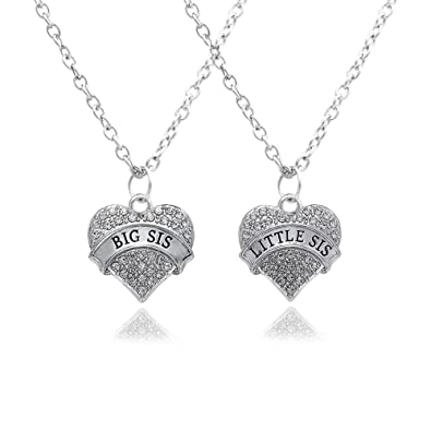 2pcs Women Family Jewellery Set Silver Alloy Pink Crystal Love Heart Big Little Sister Pendant Necklace phANb