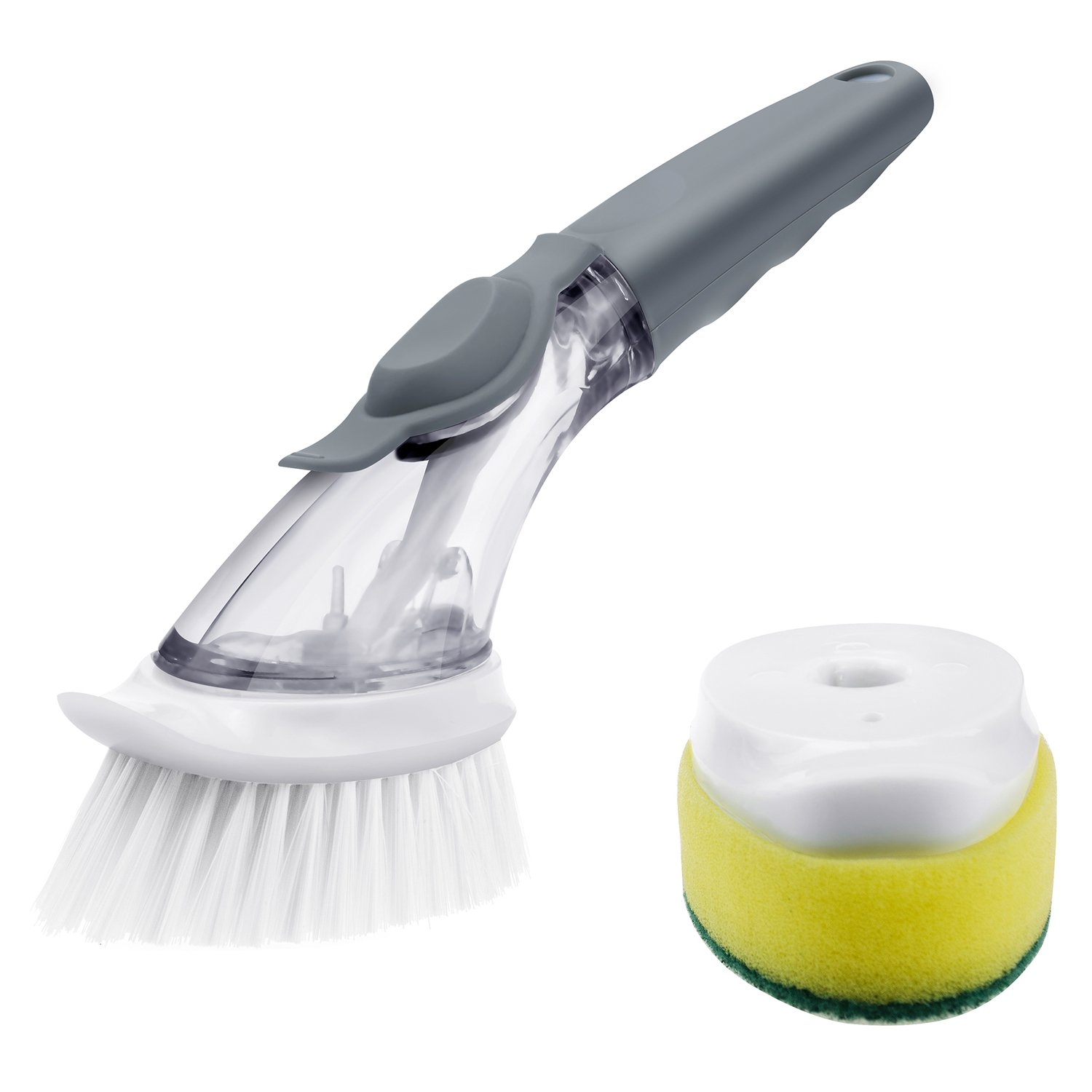 FRMARCH Good Grips Soap Dispensing Dish Brush and Sponge Set -Bowl Pot Pan scrubber with handle Nylon Cleaning Cleaner Scrub Brush Dish Wand for Kitchen (Gray)