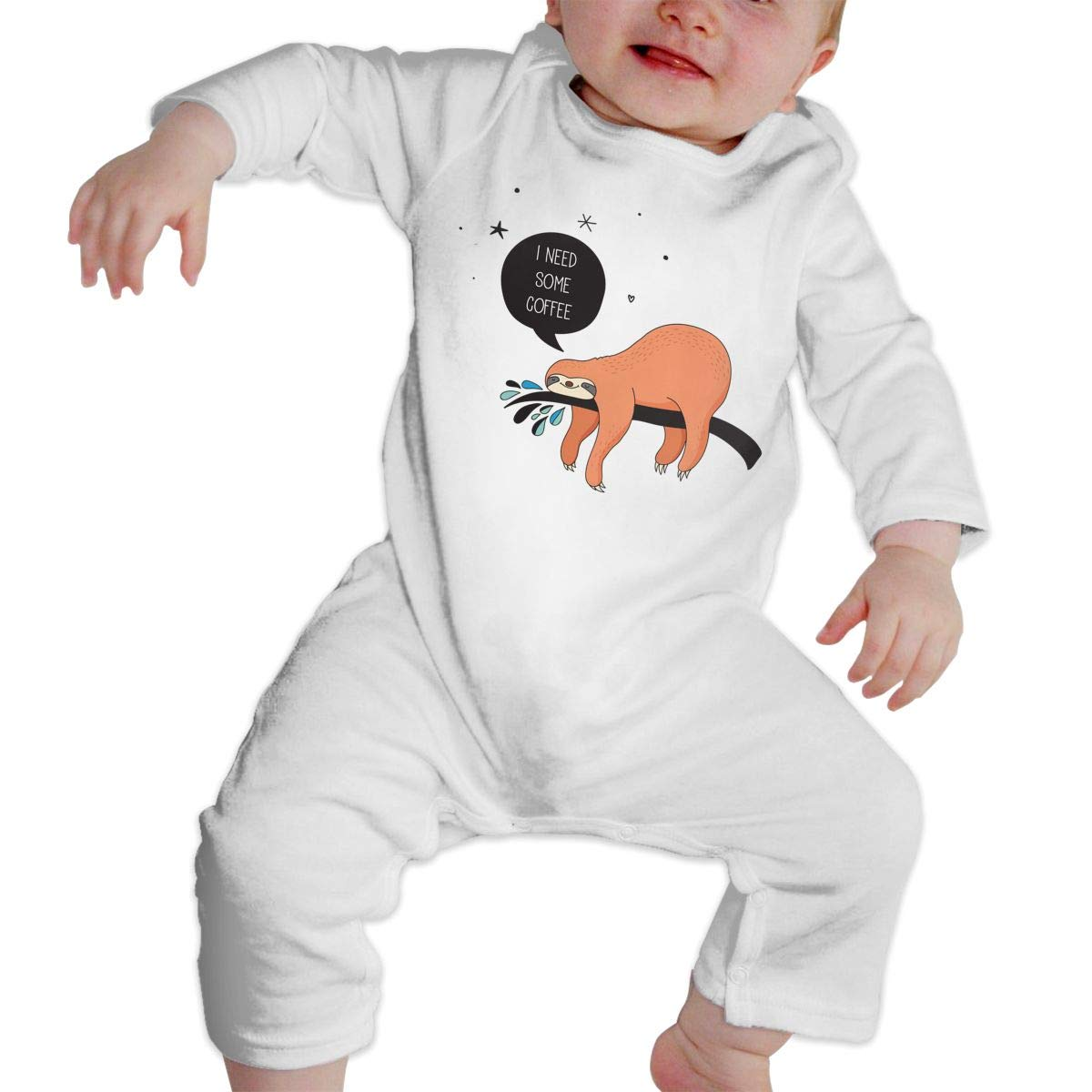 Unisex Baby O-Neck Long Sleeve Solid Color Climbing Clothes Lazy Sloth Crawling Clothes
