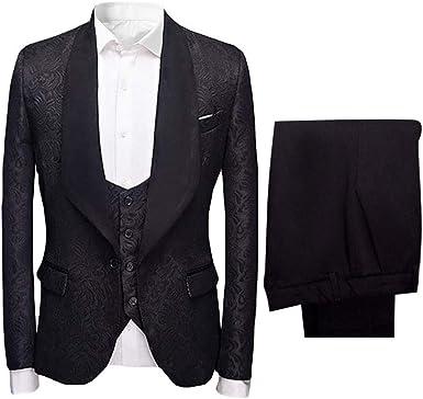 Hotk Men S Suits White Pink Blue Black Red Jacquard Slim Fit Shawl Lapel 3 Piece Wedding Formal Suit At Amazon Men S Clothing Store