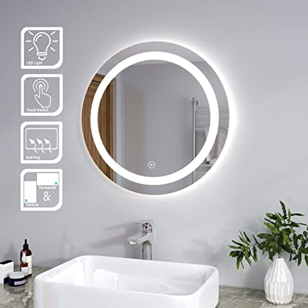 Elegant Modern Bathroom Mirror Round Waterproof Illuminated Led Backlit Wall Makeup Mirrors With White Light Sensor Touch Control And Demister Pad 600x600mm Amazon Co Uk Kitchen Home