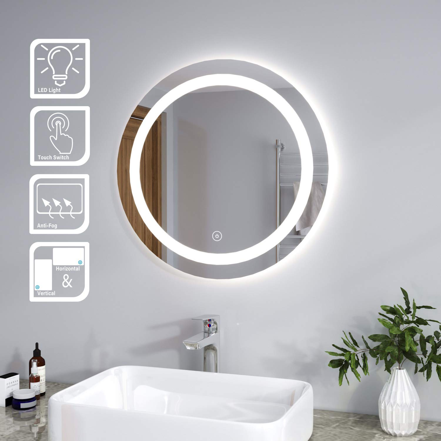 Elegant Modern Bathroom Mirror Round Waterproof Illuminated Led Backlit Wall Makeup Mirrors With White Light Sensor Buy Online In Dominica At Dominica Desertcart Com Productid 212966587