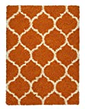 Sweethome Stores COZY3331-8X10 Shaggy Rug, 7'10 X 9'10, Orange White Trellis