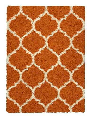 Sweethome Stores COZY3331-8X10 Shaggy Rug, 7'10 X 9'10, Orange White Trellis by Sweet Home Stores