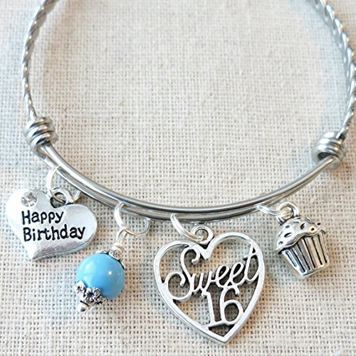Happy Birthday Sweet 16 Bangle, 16th BIRTHDAY Gift, Sixteenth Birthday Gifts, Custom Jewelry for 16th Birthday, Happy Birthday Bracelet