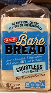 HEB Bare Bread Crustless White Bread 12.5 Oz (Pack of 2)