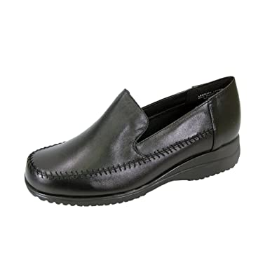fbd5a61676f 24 Hour Comfort Cayla (1894) Women Extra Wide Width Leather Loafers Black 7