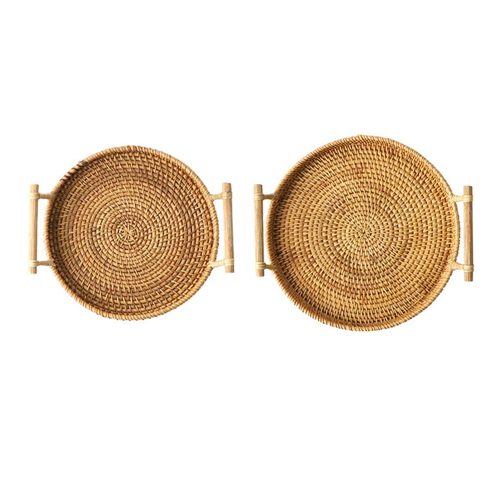 FREELOVE Manual Rattan Bread Basket/Fruit Tray, Round (8.6 in. + 9.4 in.) by FREELOVE (Image #1)
