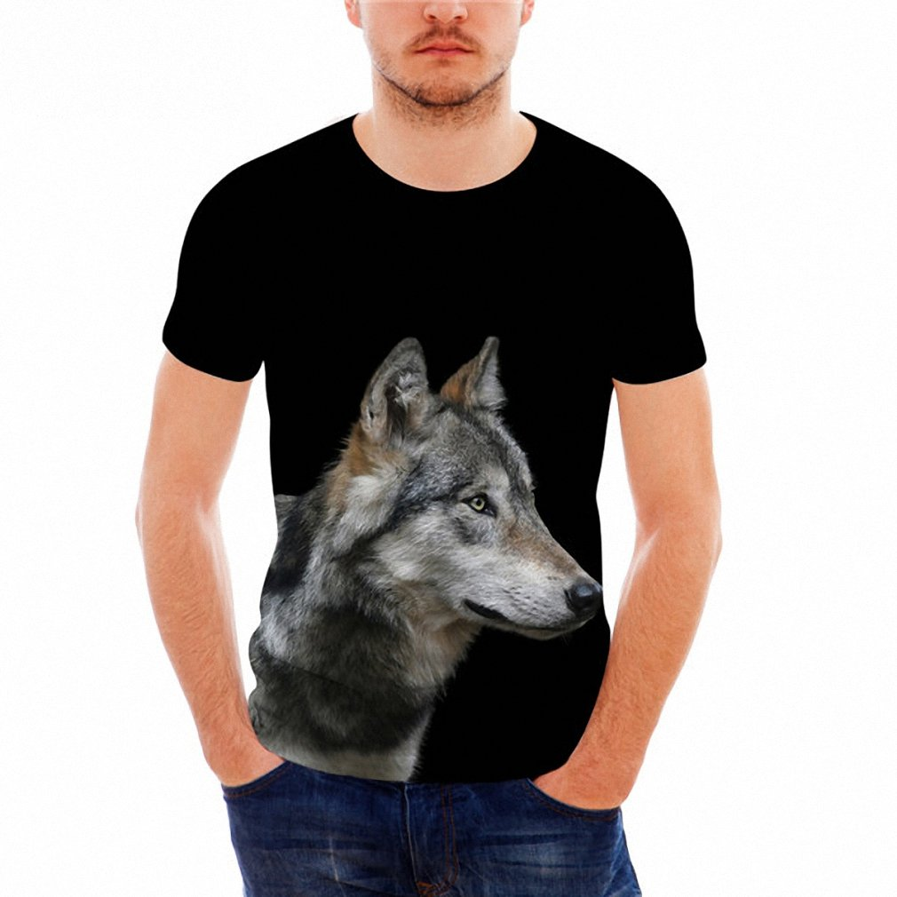 Hiuwa Unisex 3D T-Shirt Funny Wolf Printed Short Sleeve Top Tees