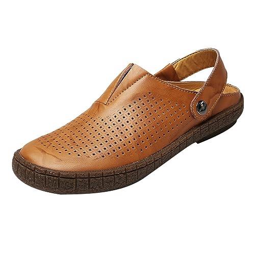 LINNUO Sandalias Hombre Zuecos de Playa Piscina Vestir Zapatillas Slippers  Chanclas Pescador Zapatos Verano (Amarillo 021d68bad4c