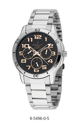 Reloj Caballero, Marca Nowley, en acero inoxidable, esfera en negro con números en color cobre, tapa rosca, y gestión multifunción: Amazon.es: Relojes