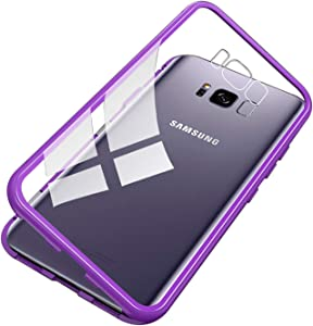 UNIYA Galaxy S8 Plus Magnetic Case, Tempered Glass Magnetic Metal Frame Aluminum Alloy Protective Case (Clear Purple)