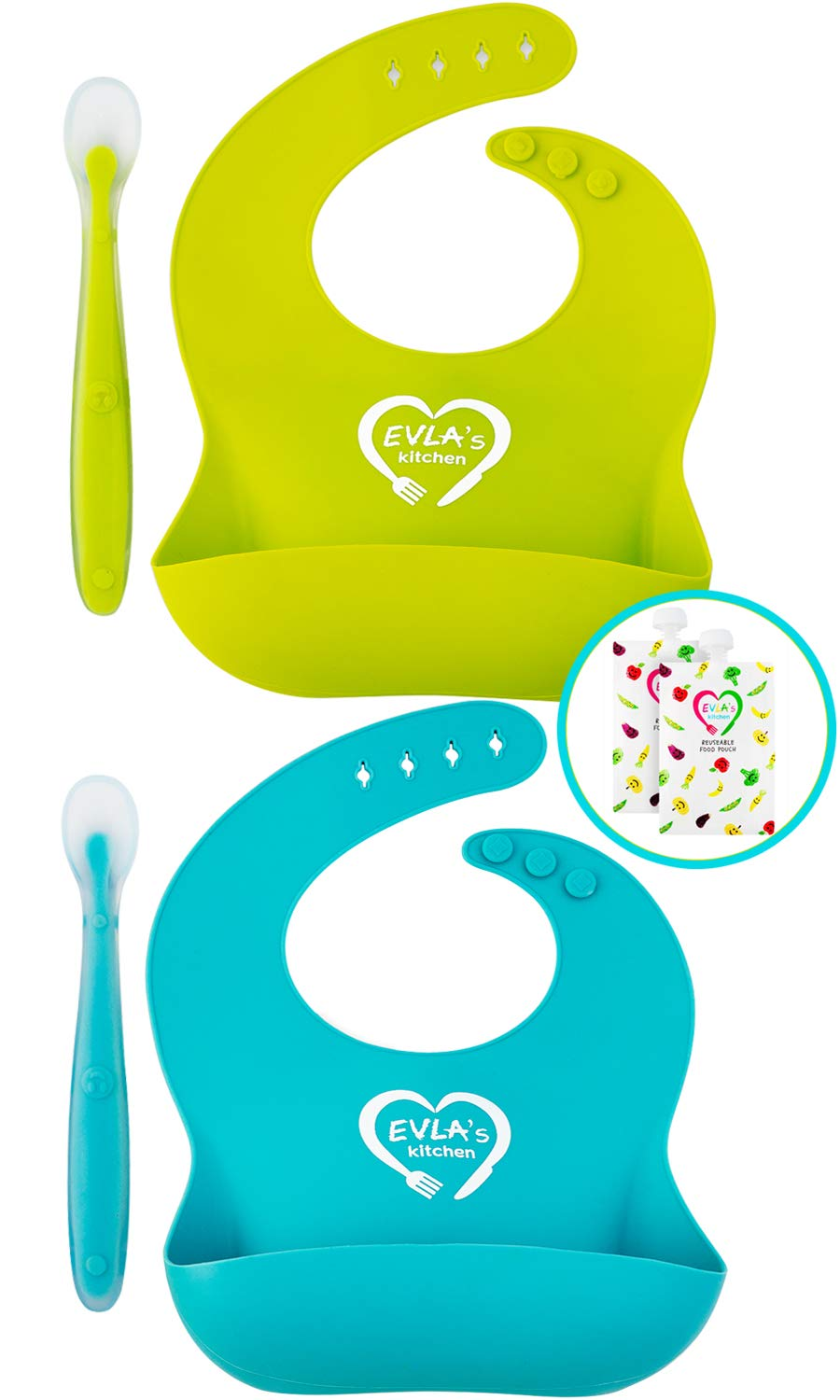 Silicone Bibs for Babies & Toddlers | Silicone Bib Easy Clean | 100% Safe Baby Bibs Silicone | Premium Silicon Bibs Waterproof Bibs | No More Messy Mealtimes | Bonus Baby Spoon & Food Pouches Reusable by EVLA'S