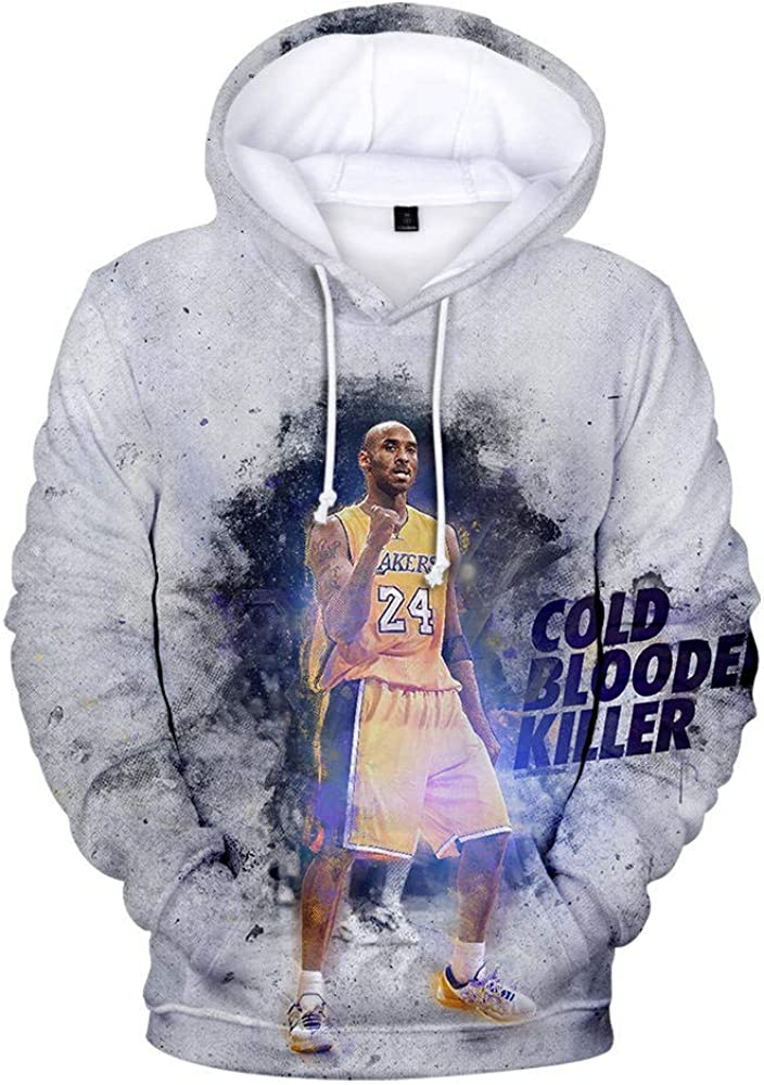 Kobe Bryant Lakers 24 Sudadera con Capucha Casual Hombres Mujeres Tallas Grandes Ropa Deportiva Sudadera Ligera con Bolsillos Mangas largas Cord/ón