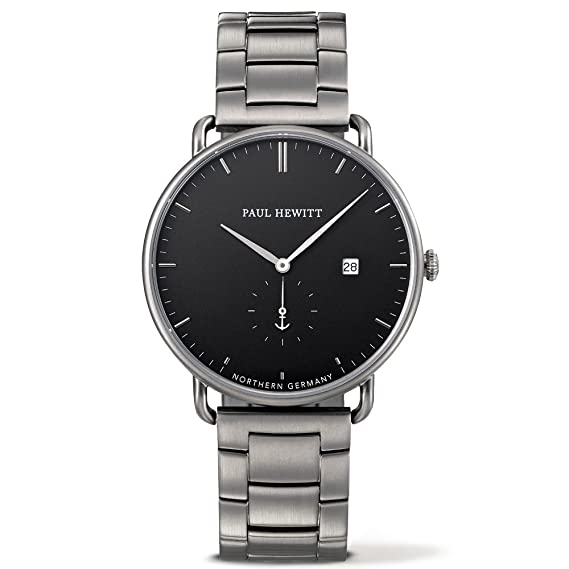 Paul Hewitt Reloj Analógico para Hombre de Cuarzo con Correa en Acero Inoxidable PH-TGA-GM-B-4M: Amazon.es: Relojes